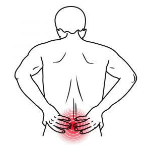Person holding low back in pain